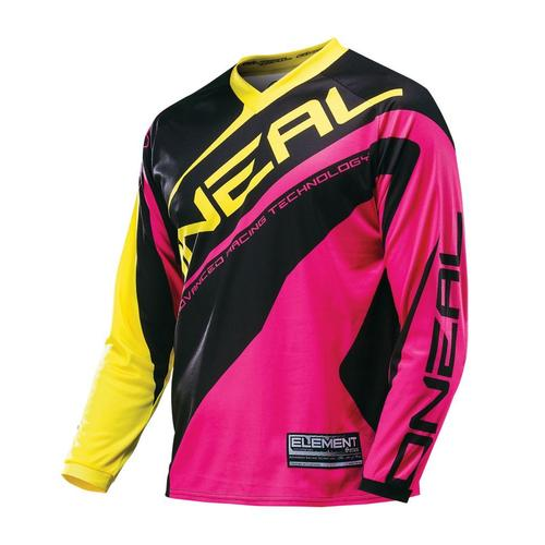 ONEAL  ELEMENT R/WEAR MOTOCROSS MX JERSEY PINK/YELL YOUTH (XL)
