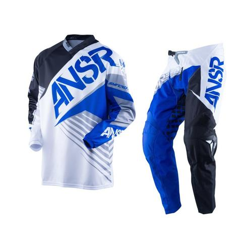 ANSWER SYNCRON BLACK BLUE WHITE KIDS MOTOCROSS MX PANTS JERSEY GEAR SET YOUTH