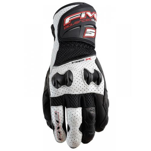 MOTORCYCLE ROAD GLOVES FIVE RFX NEW AIR BLACK/WHITE 9/M