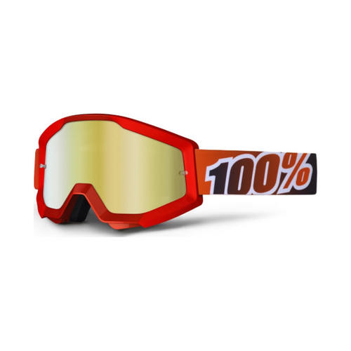 100% PERCENT STRATA FIRE RED GOLD TINTED MX MOTOCROSS GOGGLES