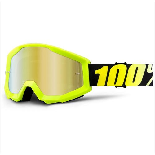100% PERCENT MX MOTOCROSS GOGGLES STRATA NEON YELLOW GOLD TINT