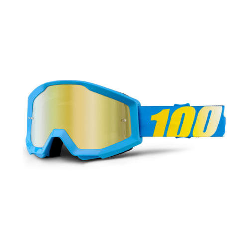 100% PERCENT STRATA BLUE GOLD TINTED MX MOTOCROSS GOGGLES