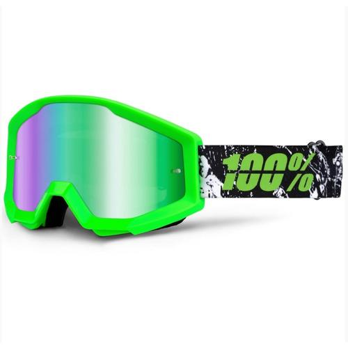 100% STRATA CRAFTY LIME MX MOTOCROSS GOGGLES GREEN TINT