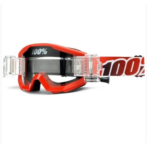 100% STRATA FIRE RED SVS MUD ROLL-OFF MOTOCROSS MX GOGGLES