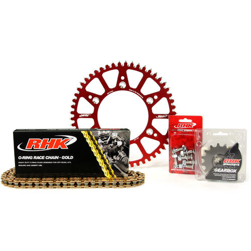 HONDA CR250 1988 - 2007  13T/49T RHK O-RING CHAIN & RED ALLOY SPROCKET KIT