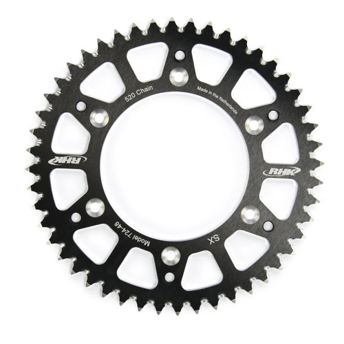 KAWASAKI KX125 1980 - 2008 52T RHK ALLOY REAR SPROCKET BLACK KX 125