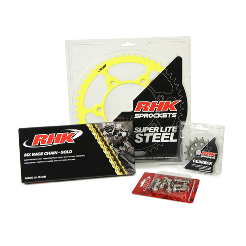 13T/50T - RHK MX CHAIN & YELLOW STEEL SPROCKET KIT