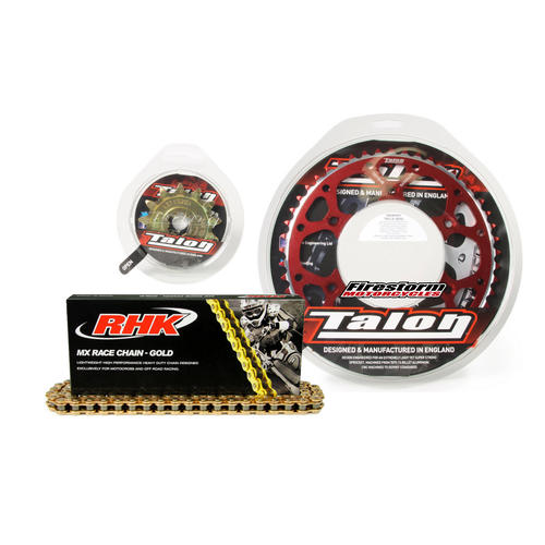 13T/54T TALON GOLD MX CHAIN AND RED SPROCKET KIT