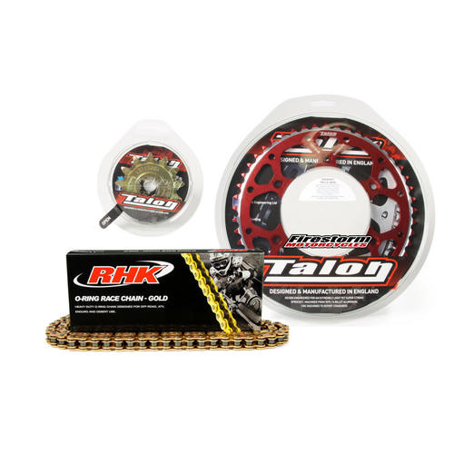 13T/50T TALON RHK O-RING CHAIN & RED SPROCKET KIT