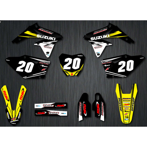 CUSTOM SUZUKI TEAM GRAPHICS KIT WITH NUMBER PLATE BACKGROUNDS