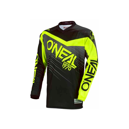 ONEAL 2018 ELEMENT RACEWEAR  MX MOTOCROSS JERSEY BLACK HI-VIZ ADULT