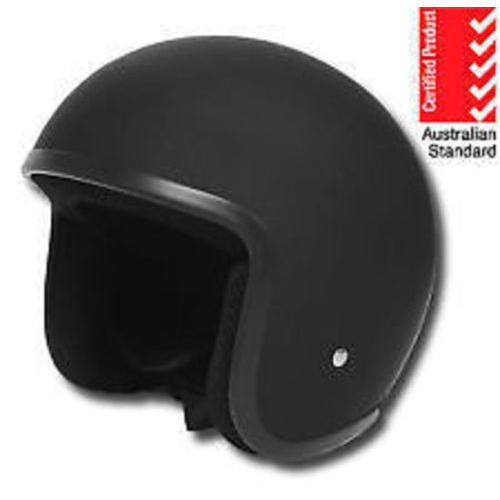 THH OPEN FACE MOTORCYCLE HELMET T-380 BLACK NO STUDS