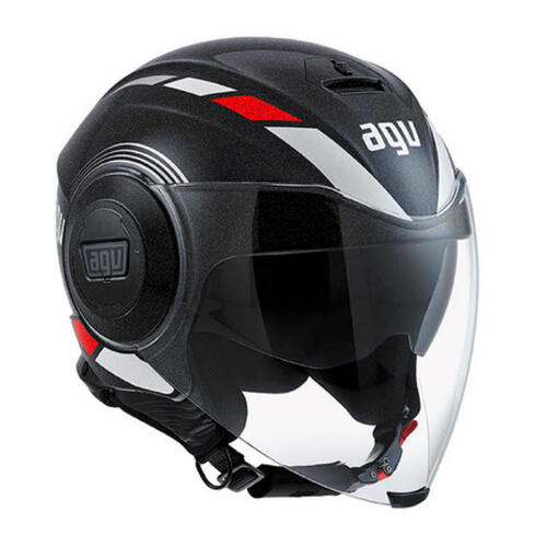 AGV FLUID EQUALIZER ROAD MOTORCYCLE OPEN FACE HELMET BLACK/GREY