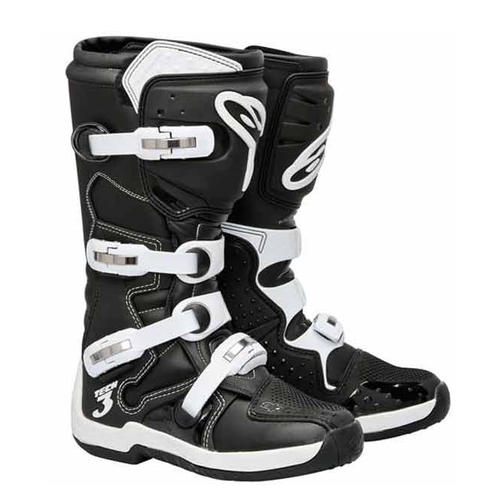 ALPINESTAR TECH 3 MOTOCROSS MX BOOTS BLACK WHITE ADULTS