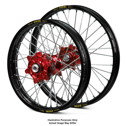HONDA CRF1000L Africa Twin 2015 - 2018 ADVENTURE WHEEL SET BLACK EXCEL RIMS / RED HAAN HUBS 17x3.50 / 17x4.25