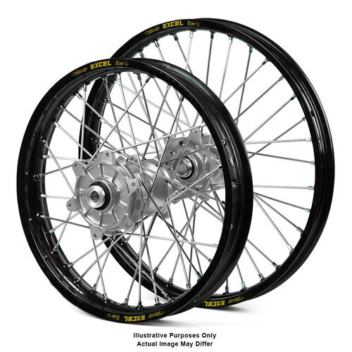 KTM 990 2003 - 2014 ADVENTURE WHEEL SET BLACK EXCEL RIMS / SILVER HAAN HUBS 21x1.85 / 17x4.50