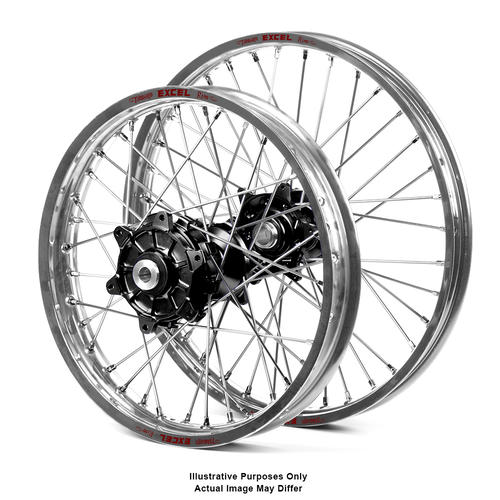 SUZUKI DL1000 V-Strom 2014 - 2018 ADVENTURE WHEEL SET SILVER EXCEL RIMS / BLACK HAAN HUBS 17x3.50 / 17x4.25