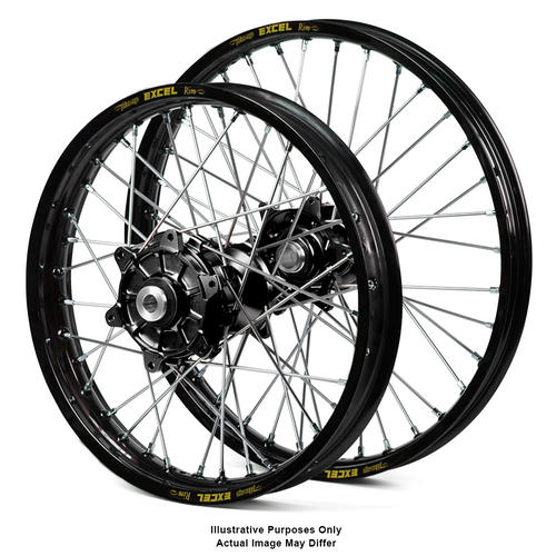 BMW F800 GS 2006 - 2018 ADVENTURE WHEEL SET BLACK EXCEL RIMS / BLACK HAAN HUBS 21x2.15 / 17x4.25 OEM SIZE