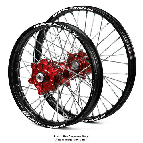 HONDA CRF1000L Africa Twin 2015 - 2018 ADVENTURE WHEEL SET BLACK PLATINUM RIMS / RED HAAN HUBS 21x1.85 / 18x4.25