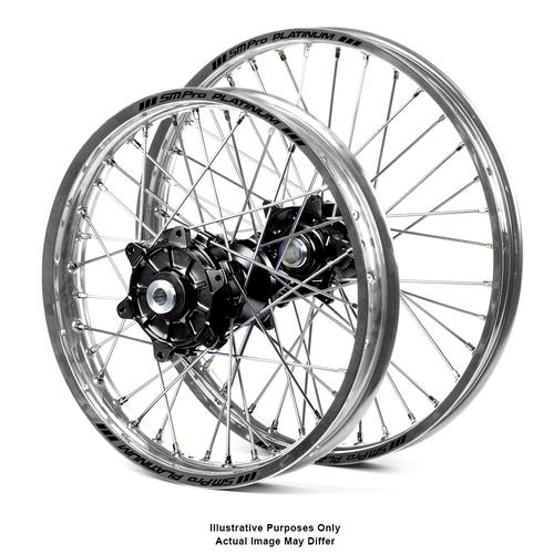 SUZUKI DL1000 V-Strom 2014 - 2018 ADVENTURE WHEEL SET SILVER PLATINUM RIMS / BLACK HAAN HUBS 21x1.85 / 18x4.25