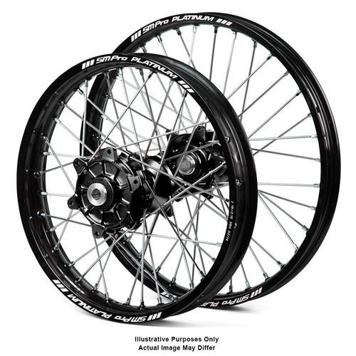 SUZUKI DL650 V-Strom 2014 - 2018 ADVENTURE WHEEL SET BLACK PLATINUM RIMS / BLACK HAAN HUBS 21x2.15 / 18x4.25