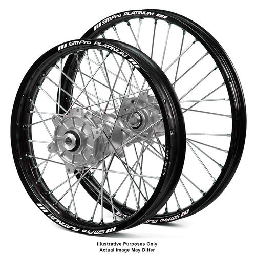 SUZUKI DL1000 V-Strom 2014 - 2018 ADVENTURE WHEEL SET BLACK PLATINUM RIMS / SILVER HAAN HUBS 21x2.15 / 17x4.25