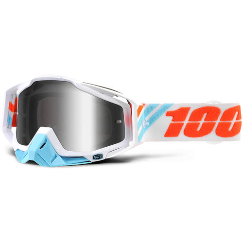 100% MOTOCROSS MX GOGGLES RACECRAFT CALCULUS ICE SILVER LENS