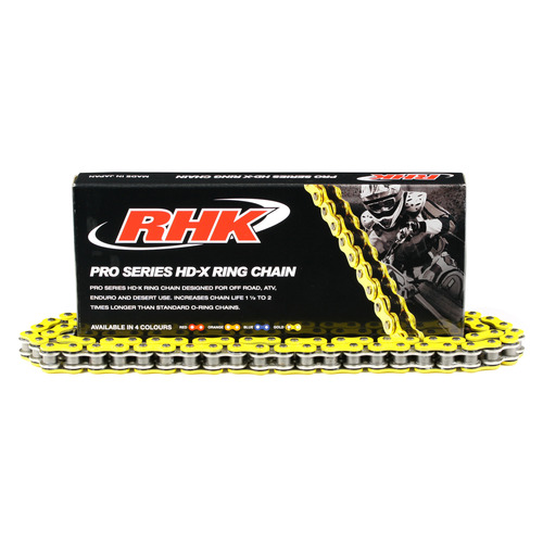 RHK 520 HEAVY DUTY PRO SERIES X-RING MOTORCYCLE CHAIN - YELLOW