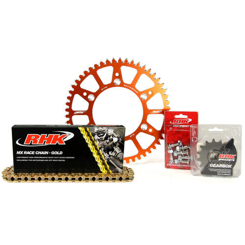 KTM 300 EXC 1995 - 2020 13T/49T RHK MX CHAIN & ORANGE ALLOY SPROCKET KIT