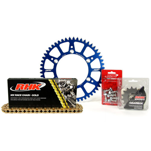 HUSQVARNA FE250 2014 - 2020 13T/51T RHK MX CHAIN & BLUE ALLOY SPROCKET KIT