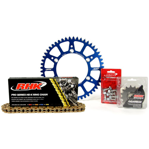 HUSQVARNA TC125 2014 - 2020 13T/49T RHK X-RING CHAIN & BLUE ALLOY SPROCKET KIT