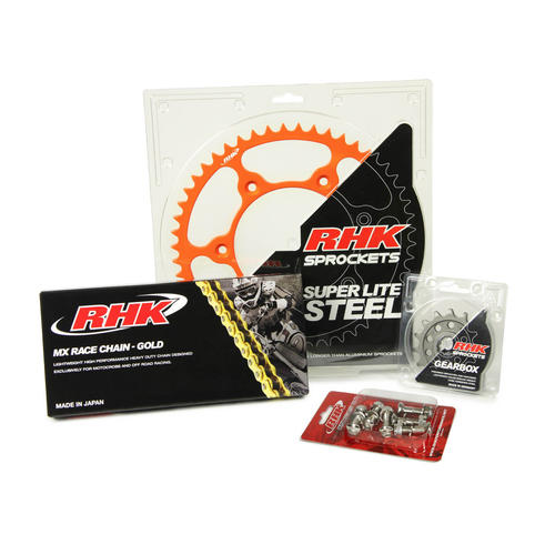 KTM 125 SX 1995 - 2020 13T/48T RHK MX CHAIN & ORANGE STEEL SPROCKET KIT