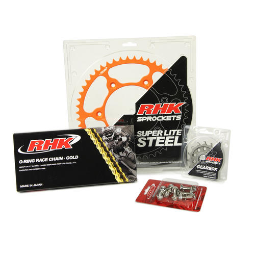 KTM 200 EXC 2000 - 2020 13T/49T RHK O-RING CHAIN & ORANGE STEEL SPROCKET KIT