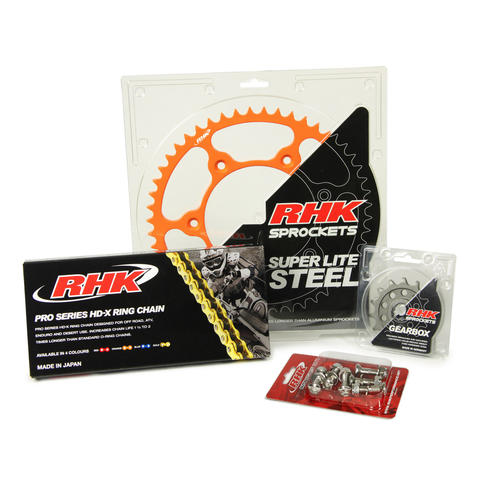 KTM 450 EXC-F 2003 - 2020 13T/48T RHK X-RING CHAIN & ORANGE STEEL SPROCKET KIT