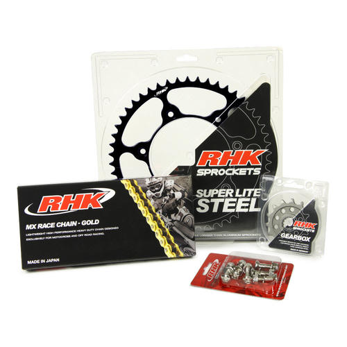 KTM 250 EXC-F 2007 - 2020 13T/52T RHK MX CHAIN & BLACK STEEL SPROCKET KIT
