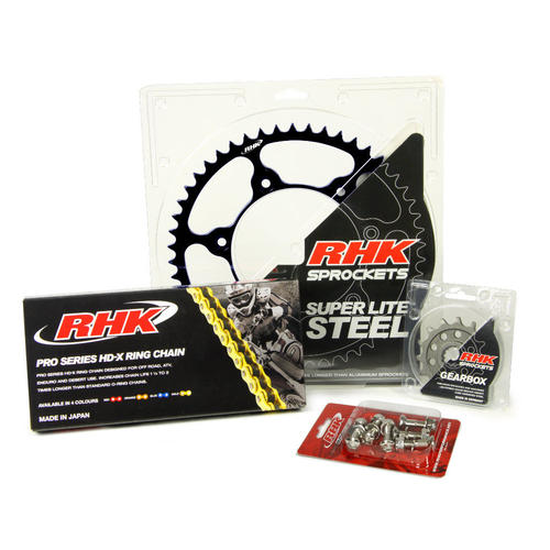 HUSABERG TE125 2010 - 2014 13T/49T RHK X-RING CHAIN & BLACK STEEL SPROCKET KIT