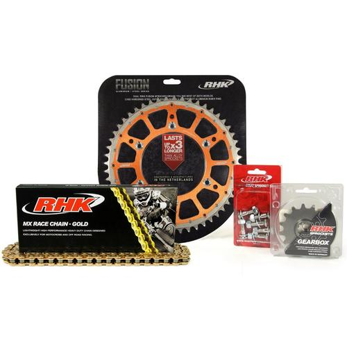 KTM 250 EXC-F 2007 - 2020 13T/50T RHK MX CHAIN & ORANGE FUSION SPROCKET KIT
