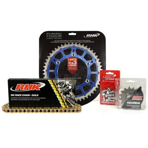YAMAHA YZ250F 2001 - 2020 13T/49T RHK MX CHAIN & BLUE FUSION SPROCKET KIT