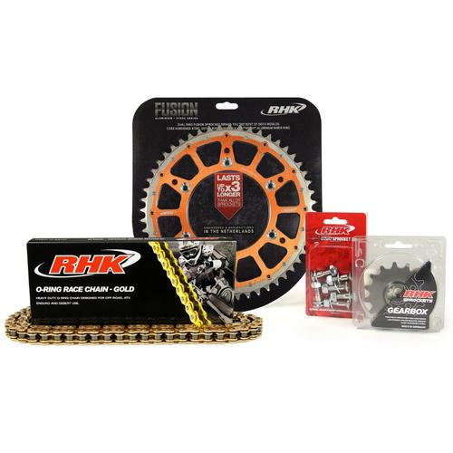 KTM 125 SX 1995 - 2020 13T/49T RHK O-RING CHAIN & ORANGE FUSION SPROCKET KIT