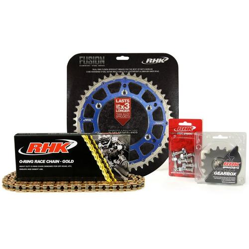 HUSQVARNA FE501 2014 - 2020 13T /52T RHK O-RING CHAIN & BLUE FUSION SPROCKET KIT