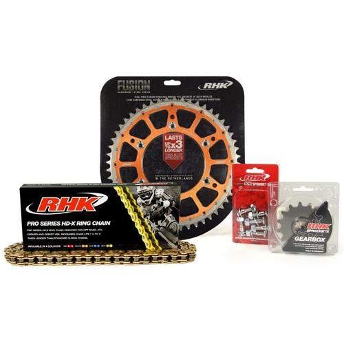 KTM 250 EXC-F 2007 - 2020 13T/51T RHK X-RING CHAIN & ORANGE FUSION SPROCKET KIT
