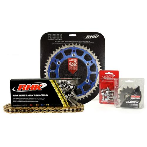 HUSQVARNA TE300 2014 - 2020 13T/50T RHK X-RING CHAIN & BLUE FUSION SPROCKET KIT