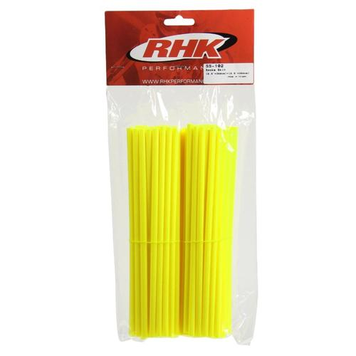 RHK MOTORCYCLE WHEEL SPOKE WRAPS COVERS FLURO YELLOW