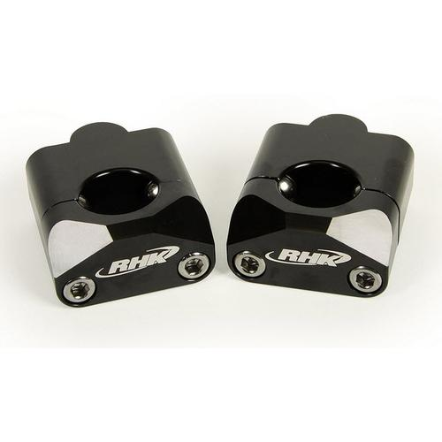 RHK BLACK TAPERED HANDLEBAR 35MM RISER CLAMPS ADAPTOR MOUNTS