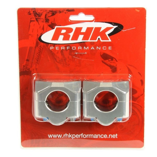RHK HANDLEBAR ADAPTOR MOUNTS CLAMPS OVERSIZE PRO TAPER FAT BAR SILVER