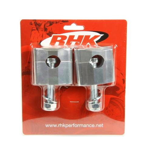 RHK SILVER STD 7/8 HANDLEBAR 35MM RISER CLAMPS RUBBER TYPE BAR MOUNTS