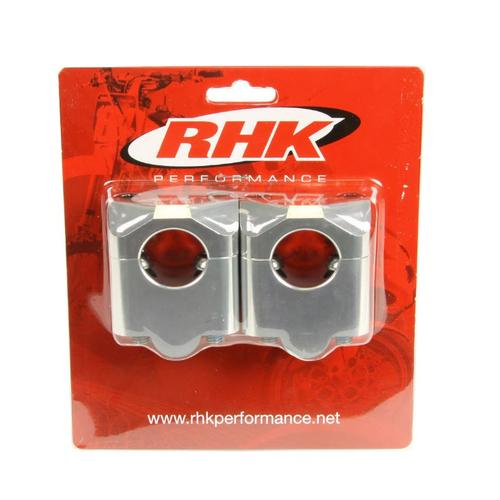 RHK SILVER TAPERED HANDLEBAR 35MM RISER CLAMPS ADAPTOR MOUNTS