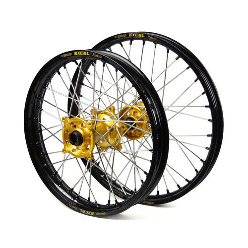 SUZUKI DRZ400 E 2000-2017 WHEEL SET 21/18 - BLACK EXCEL RIM - GOLD SM PRO HUB - BLACK NIPPLES DRZ 400