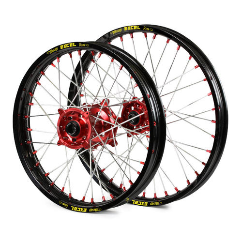 "SUZUKI RMZ250 2007 - 2019 21"" /18"" WHEEL SET - BLACK EXCEL RIM - RED SM PRO HUB - RED NIPPLES"