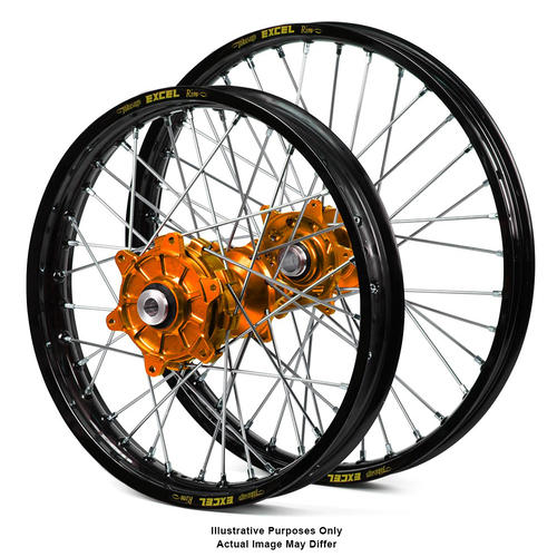 KTM 990 2003 - 2014 ADVENTURE WHEEL SET BLACK EXCEL RIMS / ORANGE SM PRO HUBS 21x2.15 / 17x4.25